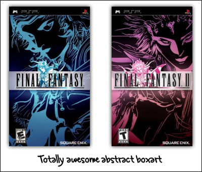 final fantasy 1 and 2 boxart psp