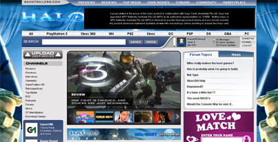 halo 3 gametrailers main page advertisement